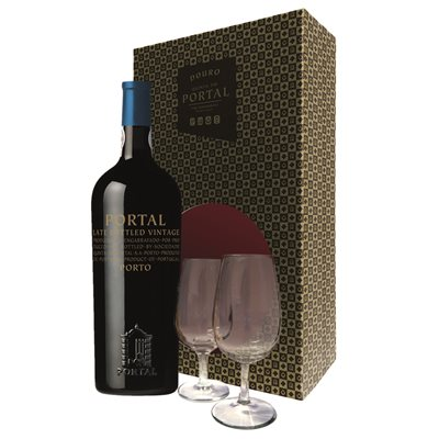Portal Late Bottled Vintage Port With Two Portwine Glasses 750ml