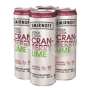 Smirnoff Vodka & Soda Cranberry Lime 4 C