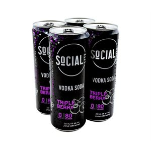 Social Lite Triple Berry Vodka Soda 4 C